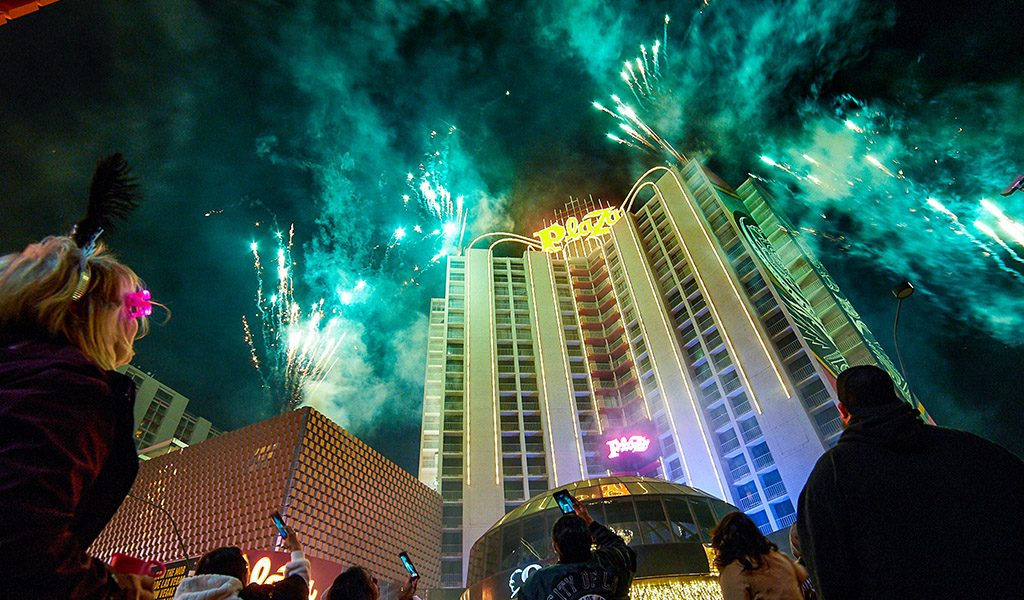Plaza Hotel Tower with Fireworks at nIght