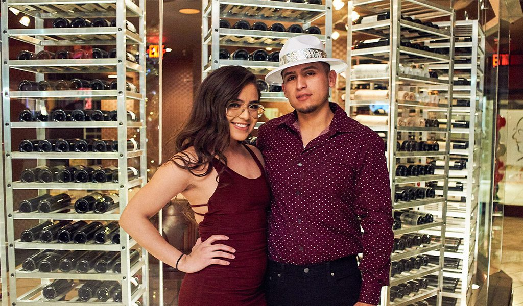 Couple celebrating NYE 2019 in Las Vegas at Oscar's Steakhouse
