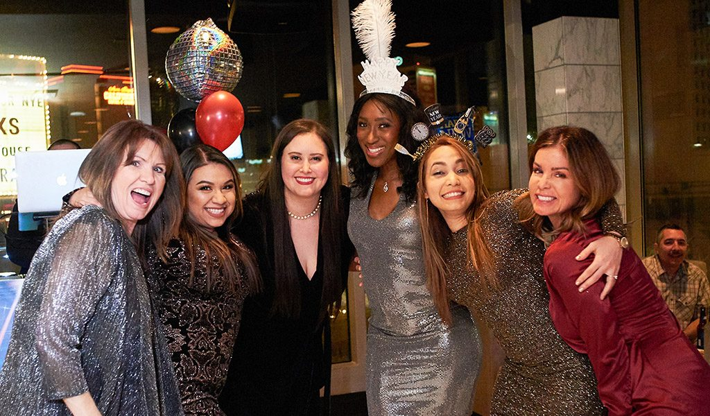 Group of ladies celebrating NYE 2019 in Las Vegas at the Plaza Hotel