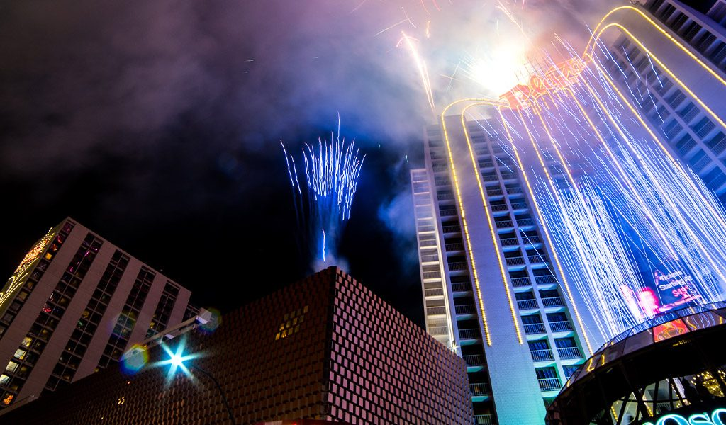 Plaza Hotel and Casino Tower with Fireworks at night