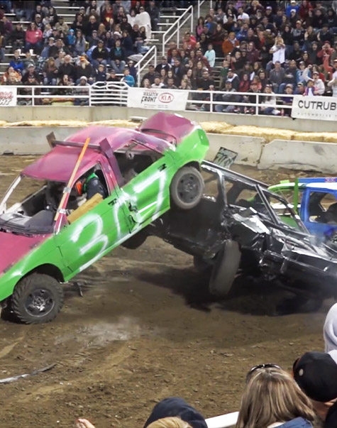 Two cars crashing at Demolition Derby Las Vegas at the Plaza
