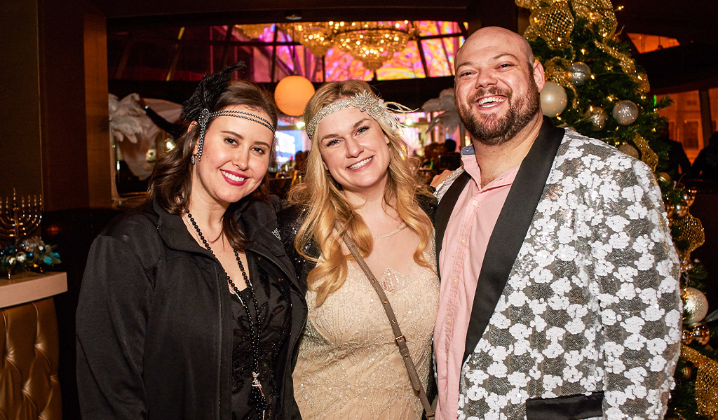 Guests celebrating at Oscar's Steakhouse during New Year's Eve 2020