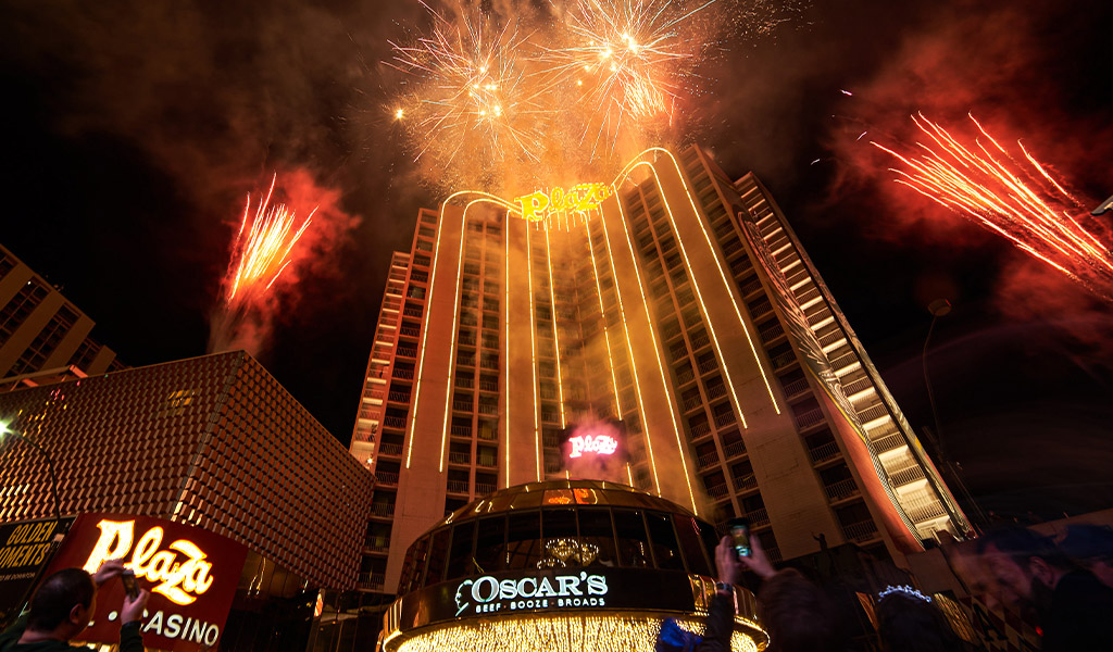 Plaza Hotel Tower with Fireworks at nIght on New Year's Eve 2020